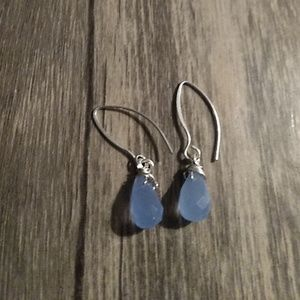 Ocean blue Chalcedony sterling silver earrings